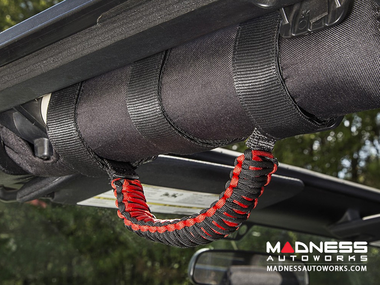 Jeep Wrangler JL Para cord Grab Handles - Red on Black - Pair